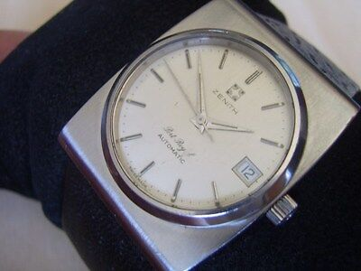 VINTAGE 70'S SS ZENITH PORT ROYAL DATE AUTOMATIC CAL 490 - 6 X SIGNED     #6150