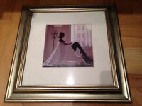 """Framed picture 13x13"""" lady by window"""