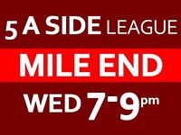 MILE END 5 A SIDE FOOTBALL LEAGUE EVERY WEDNESDAY 7-9PM - £35 /per game