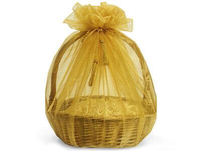 3 Sheer Gold Organza Gift Basket Wrap 48