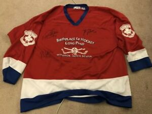 Autographed hockey jersey from long pond tournament Guy Lafleur