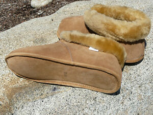 Men's Australian Sheepskin Slippers - Soft Leather Sole