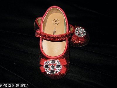 CHEROKEE RED GLITTER DOROTHY SHOES~WIZARD OF OZ~GIRLS 5~6~7~10~NWOT - Girls Red Dorothy Shoes