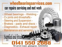 wheel bearings, cv joints, steering and suspension, welding, mot, brakes, car repairs, abs, glasgow