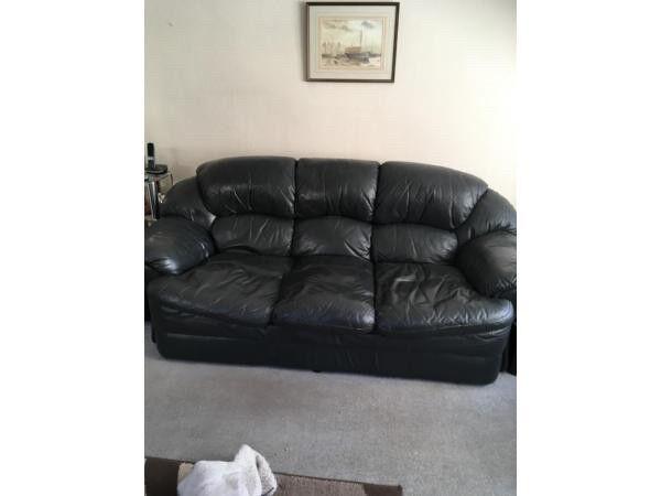 Leather sofa & 2 chairs