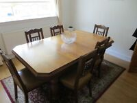 Solid oak extending antique dining table and 6 chairs