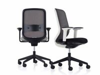 15 - ORANGE BOX - DO - TASK CHAIRS - FULLY LOADED WIH ADUSTMENTS -GREY SEAT / BLACK MESH - VG COND