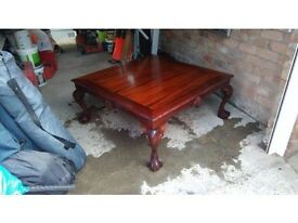 Lovely Regency Style Draw Leaf Table with brand new shatter proof glass!