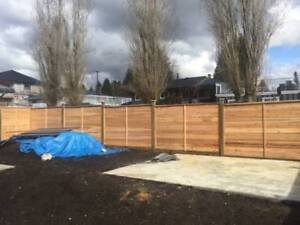 installation of cedar fence panels