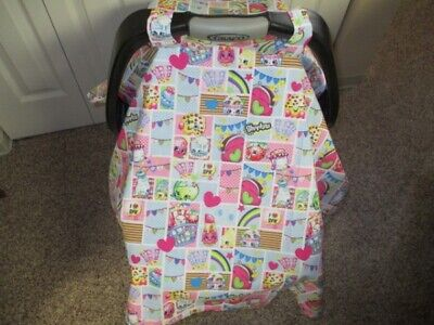 NEW - Shopkins Print Handmade Single Layer Baby Car Seat Carrier Cover, Canopy