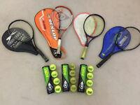Pro Adult + Junior Tennis Rackets + All Court Dunlop Balls (Slazenger, Dunlop, Karakal)