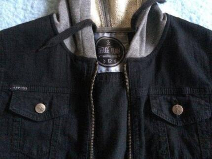 Black denim jacket, ladies size 12, grey sleeves & hood