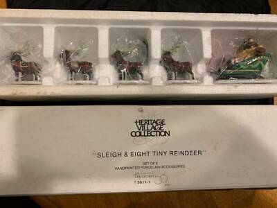Dept 56 North Pole Series Heritage Village 'Sleigh and 8 tiny reindeer' FREE SHI 56 North Pole Series