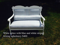931: White Settee with Blue and White Striped Ticking Upholstery