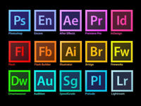 ADOBE PHOTOSHOP, INDESIGN, ILLUSTRATOR, PREMIERE PRO CC 2018,etc...