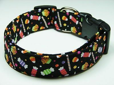 Charming Black w/ Halloween Trick or Treat Candy Standard Dog Collar - Halloween Candy Dog