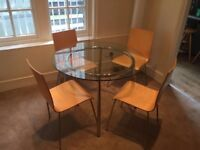 IKEA Salmi Glass Table and 4 Julian Bowen Chairs