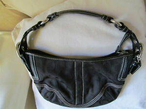 Authentic Coach black HOBO style - real leather trims NEW + + +