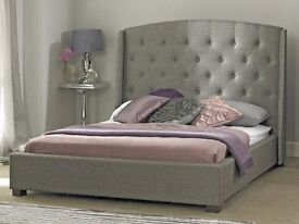 Double Bed Grey Studded Wing £200 with free mattress option