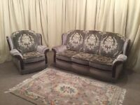 2 Piece Suite - High Wing Back 3 Seater Sofa & Armchair