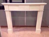 LARGE FIRE SURROUND AND MARBLE HEARTH