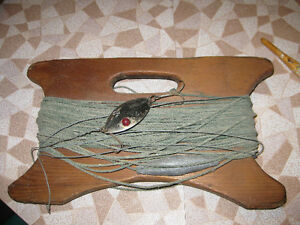 Vintage Jigger original fishing line lure also two fishing rods