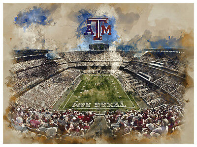 Texas A&m Decorations (Texas A&M Aggies Poster Watercolor Art Print Man Cave Decor)