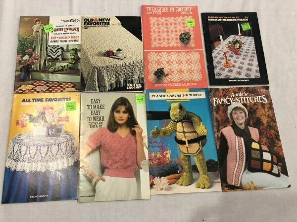 Vintage Lot Crochet Tablecloth Pillows Toys Rugs Pattern Booklets Coats & Clark