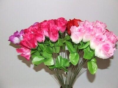 50 x KUNSTBLUMEN  ROSEN 6 Farben Plastikblumen Blumen Dekoration ca.45 cm NEU
