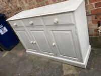 A SOLID PITCH PINE HANDMADE SIDEBOARD FINISHED IN OFF WHITE CHALK PAINT FREE LOCAL DELIVERY