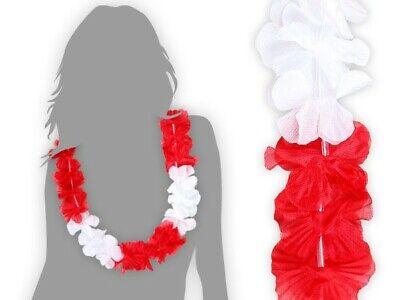 Lot de 12 collier hawaien  rouge blanc accesoire femme soirée déguisée HK-10