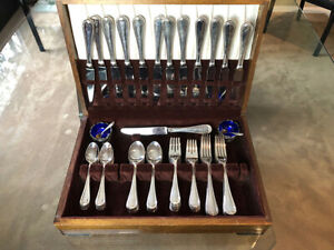Silver Plate 12 pc Reed & Barton Flatware Set with Sterling Salt