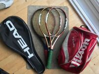 Tennis racquets x3 and tennis bags