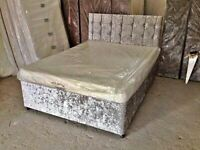 SALE PRICE - DOUBLE CRUSHED VELVET DIVAN BED w ORTHOPEDIC MATTRESS