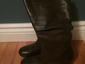 Brown leather boots- size 6