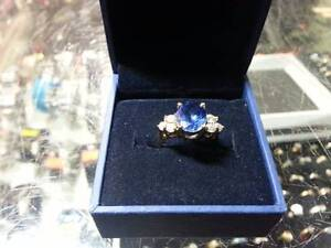 14k Gold Diamond Ring Blue Stone $280 Great Pacific Pawnbrokers