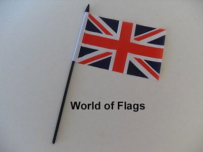 "UNION JACK SMALL HAND WAVING FLAG 6"" x 4"" British Britain Crafts Table Display"