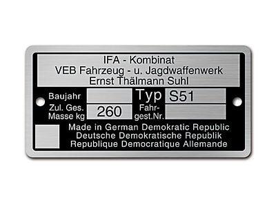 Typenschild Aluminium passend f. Simson S51 73,80 x 37,09 x 0,7mm Rahmenplakette