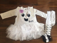 Girls Halloween tutu suit and tights age 3-6mths bnwt