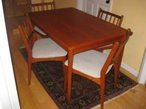 "Chic 89"" Refinished MCM Retro Teak Dining Table, Chairs, A1 !"