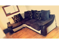 Stunning black and grey corner sofa very big comfy sofa
