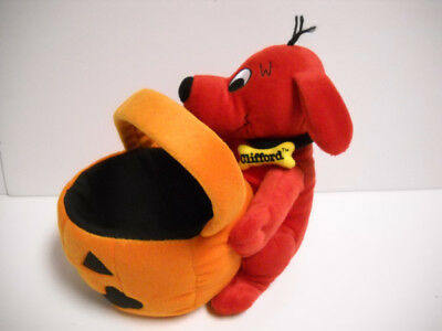 Clifford The Big Red Dog Halloween Jack-O-Lantern Bucket Plush Scholastic 2004