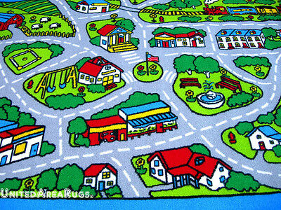 3x7 Runner Rug Play Road Driving Time Street Car Kids Cit...