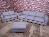 3 seater and 2 seater matching sofa with matching footstool