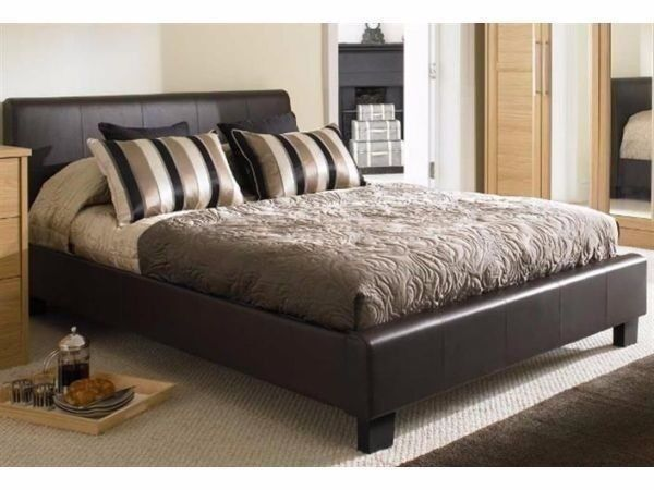 BRAND NEW DOUBLE LEATHER BED WITH DOUBLE ORTHOPAEDIC MATTRESS
