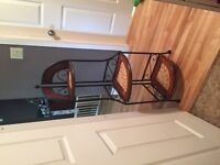 Matching Wicker table and shelf