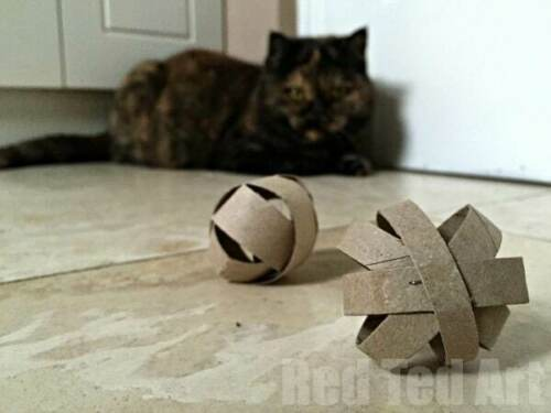 Simple roll Cat toy handmade recycled from paper carton (1pcs)