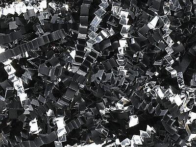 U Choose Size! BLACK & METALLIC SILVER Gift Basket Shred Crinkle Paper Filler (Black Crinkle Paper)