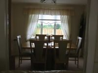 OAK EXTENDABLE DINING ROOM TABLE, SIX CHAIRS AND CHINA CABINET & BUFFET