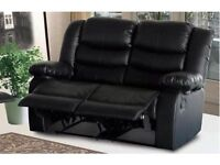 Luxury Rosy 3 and 2 Seater Recliner in Bonded Leather With Pull Down Cup Holder